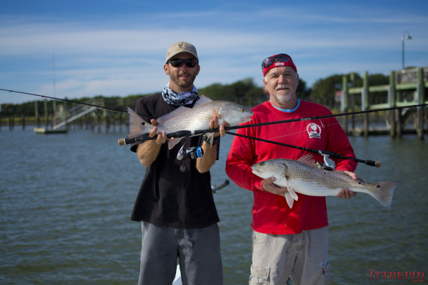 Charleston-Redfish-Pair-Sewell-Rods-620x413 Great Times In Low Country - Charleston Bay Shrimping & Red Fishing 2014 Reports Fishing Reports