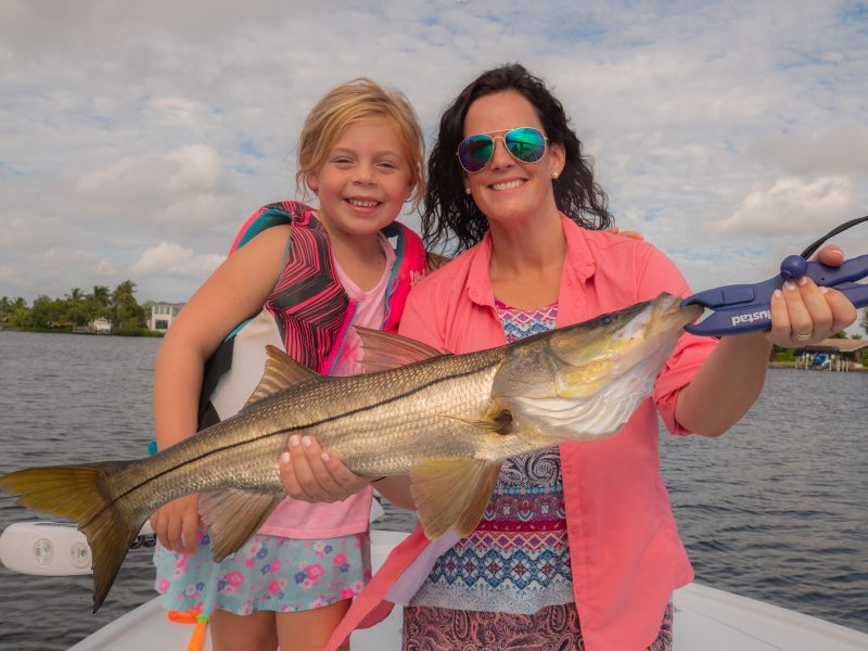 Alisha-Big-Snook-800x600 December Fishing Report - Snook, Redfish, Black Drum, Tripletail in Fort Myers, Cape Coral, Sanibel, Captiva 2018 Reports Fishing Reports